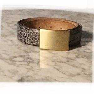 MARC JACOBS gray snake print leather belt